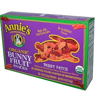 Annie's Homegrown, Organic Bunny Fruit Snacks, Berry Patch, 5 Pouches, 0.8 oz (23 g) Each
