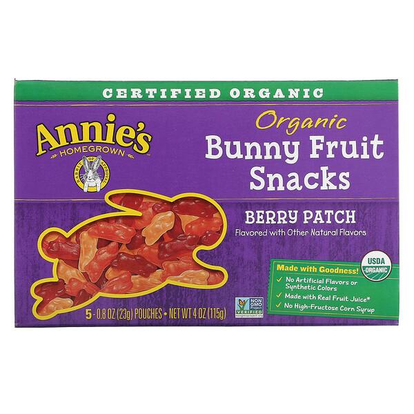 Snacks Frutales Orgánicos de Conejitos Bunny Fruit, Frutos Rojos, 5 Bolsitas, 0.8 oz (23 g) c/u
