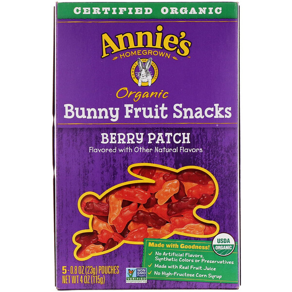 Organic Bunny Fruit Snacks, Berry Patch, 5 Pouches, 0.8 oz (23 g) Each