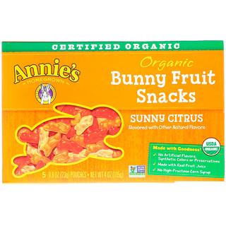 Annie's Homegrown, وجبات Bunny السريعة من الفاكهة العضوية، ليمون أصفر، 5 أكياس، 0.8 أونصة (23 غ) لكل كيس