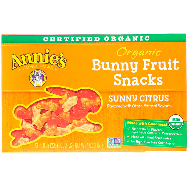 Annie's Homegrown, Organic Bunny Fruit Snacks, Sunny Citrus, 5 Pouches, 0.8 oz (23 g) Each (Discontinued Item)