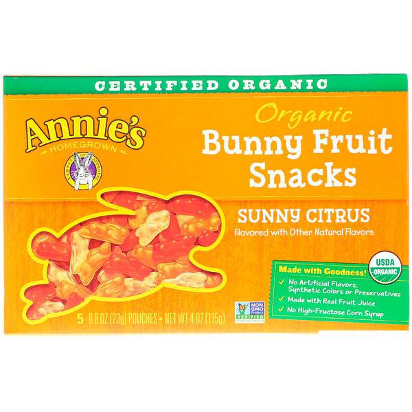 Annie's Homegrown, Organic Bunny Fruit Snacks, Sunny Citrus, 5 Pouches, 0.8 oz (23 g) Each