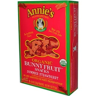 Annie's Homegrown, Organic Bunny Fruit Snacks, Summer Strawberry, 4 oz (115 g)