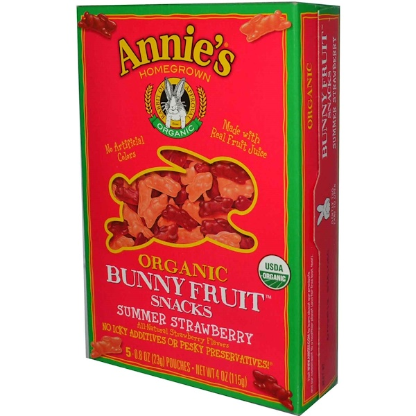 Annie's Homegrown, Organic Bunny Fruit Snacks, Summer Strawberry, 4 oz (115 g)