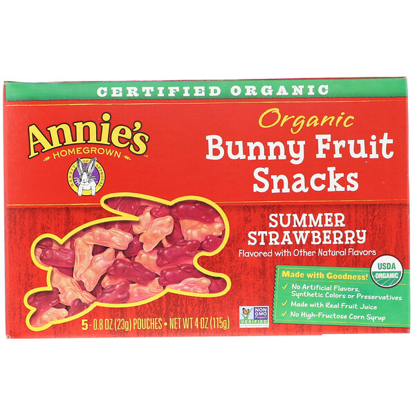 Organic Bunny Fruit Snacks, Summer Strawberry, 4 oz (115 g)