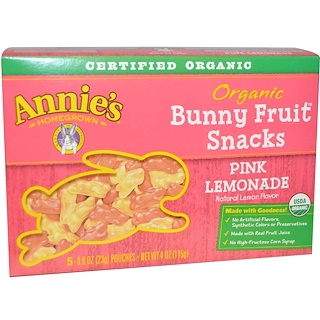 Annie's Homegrown, Organic Bunny Fruit Snack, Pink Lemonade, 5 Pouches, 0.8 oz (23 g) Each