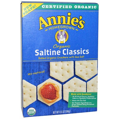 Купить Annie's Homegrown Органический классический запеченный крекер с морской солью, 6, 5 унции (184 г)
