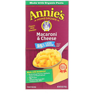 Annie's Homegrown, Macaroni & Cheese, Classic Mild Cheddar, Less Sodium, 6 oz (170 g)