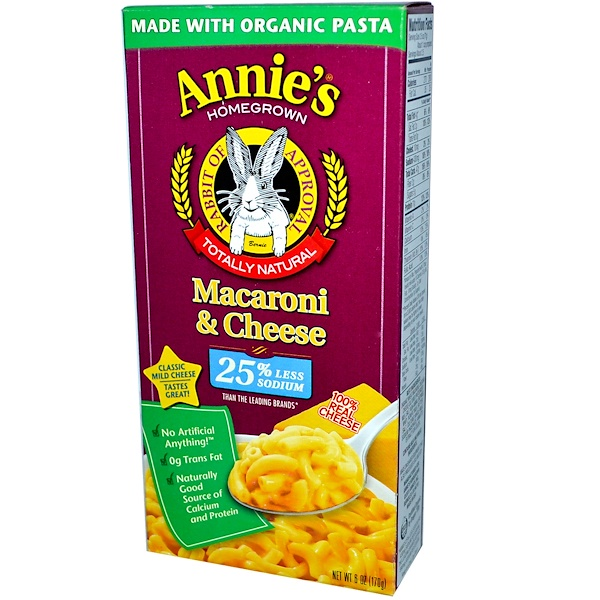 Annie's Homegrown, Macaroni & Cheese, Classic Mild Cheese, Low Sodium, 6 oz (170 g)