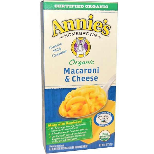 Annie's Homegrown, Органические макароны с сыром, классический чеддер, 6 унций (170 г)