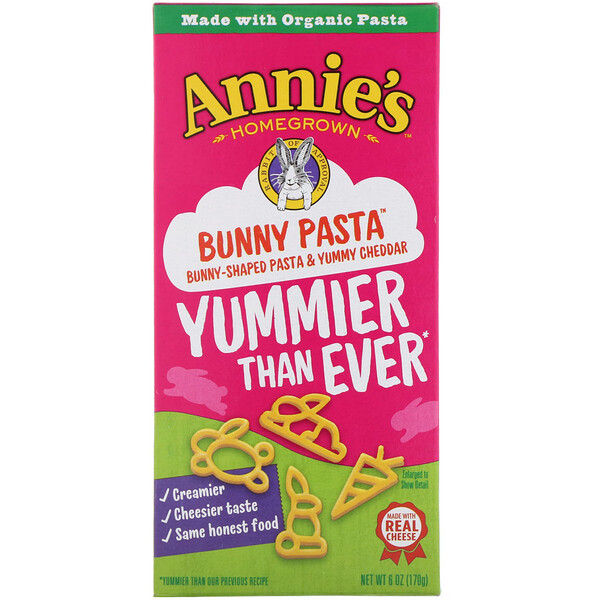 Annie's Homegrown, Bunny Pasta, Bunny Shaped Pasta & Yummy Cheddar, 6 oz (170 g)