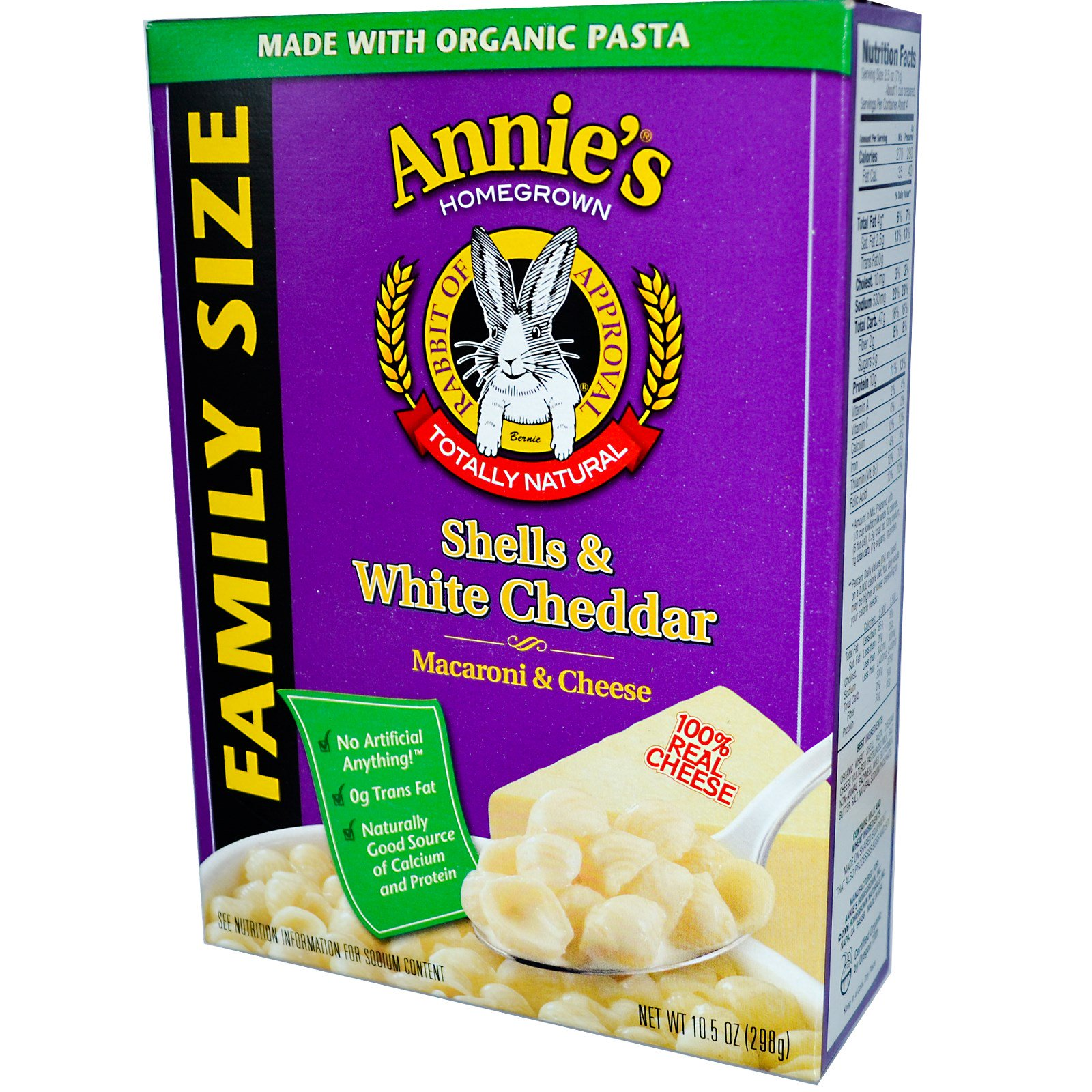 Annie\'s Homegrown, Conchitas con queso cheddar blanco, macarrones ...