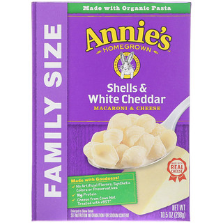 Annie's Homegrown, Macaroni & Cheese, Shells & White Cheddar, Family Size, 10.5 oz (298 g)