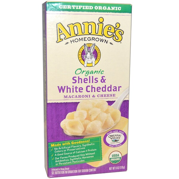 Annie's Homegrown, Macarrones con queso orgánico, pasta y queso cheddar blanco, 6 oz (170 g) (Discontinued Item)