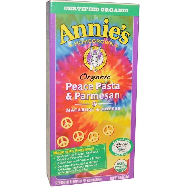 Annie's Homegrown, Органические макароны с сыром, Паста с пармезаном Peace, 6 унций (170 г) (Discontinued Item)