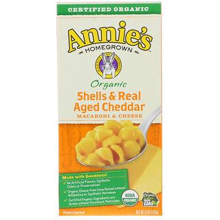 Annie's Homegrown, أصداف جبن شيدار حقيقية معتقة عضوية وموثوقة، معكرونة وجبنة، 6 أونصة (170 غ)