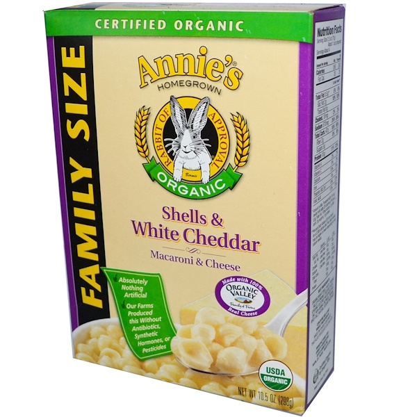 Annie's Homegrown, Certified Organic Macaroni & Cheese, Shells & White Cheddar, Family Size, 10.5 oz (298 g) (Discontinued Item)