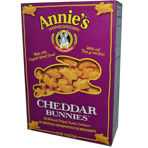 Annie's Homegrown, Чеддерные кролики, запеченные крекеры, 7,5 унций (213 г)
