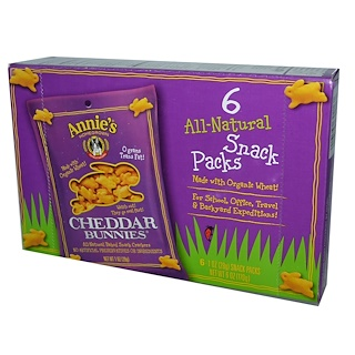 Annie's Homegrown, Cheddar Bunnies, All-Natural Baked Snack Crackers, 6 Packs, 1 oz (28 g) Each