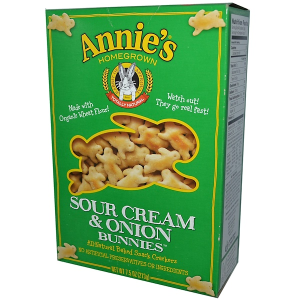 Annie's Homegrown, オールナチュラル・ベイクド・スナッククラッカー, サワークリーム & オニオン バニー, 7.5 オンス (213 g) (Discontinued Item)