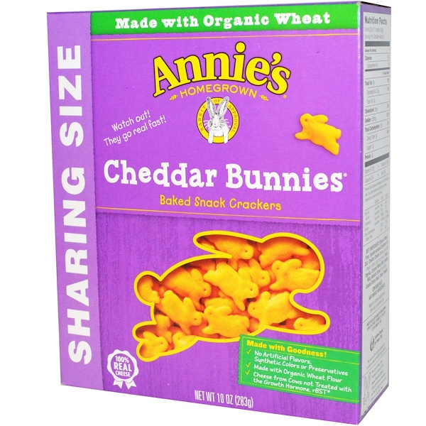 Annie's Homegrown, Cheddar Bunnies, Baked Snack Crackers, 10 oz (283 g) (Discontinued Item)