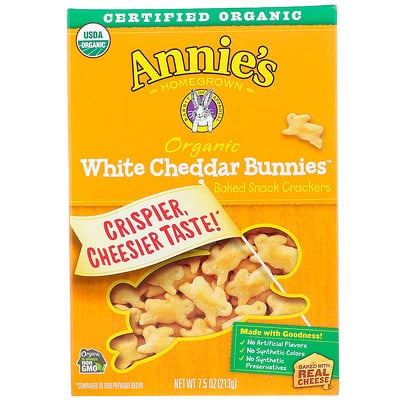 Купить Organic White Cheddar Bunnies, Baked Snack Crackers, 7.5 oz (213 g)