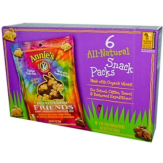 Annie's Homegrown, Bunny Graham, Friends, Honey, Chocolate, Chocolate Chip, 6 Snack Packs, 1 oz (28 g) Each