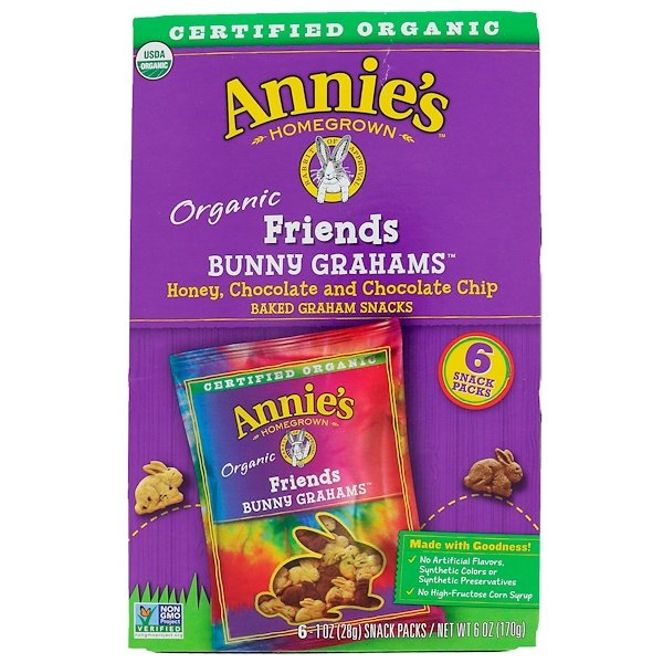 Annie's Homegrown, Bunny Graham Friends, Honey, Chocolate & Chocolate Chip, 6 Snack Packs, 1 oz (28 g) Each (Discontinued Item)