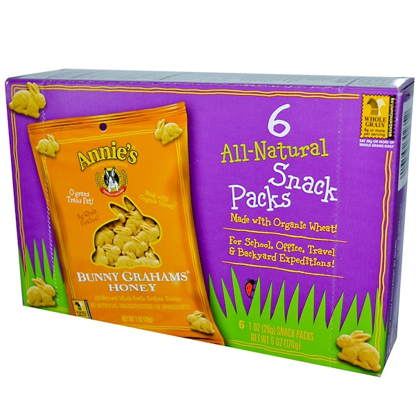 Annie's Homegrown, Bunny Grahams, Honey, 6 Snack Packs, 1 oz (28 g) Each (Discontinued Item)