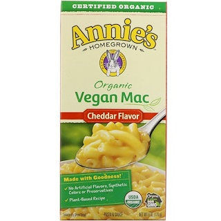 Annie's Homegrown, Organic Vegan Mac, Cheddar Flavor, 6 oz (170 g)