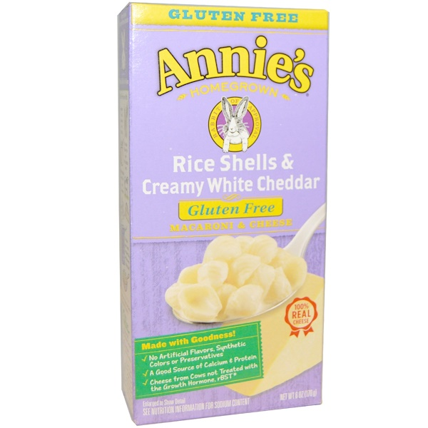 Annie's Homegrown, Macaroni & Cheese, Rice Shells & Creamy White Cheddar, 6 oz (170 g) (Discontinued Item)