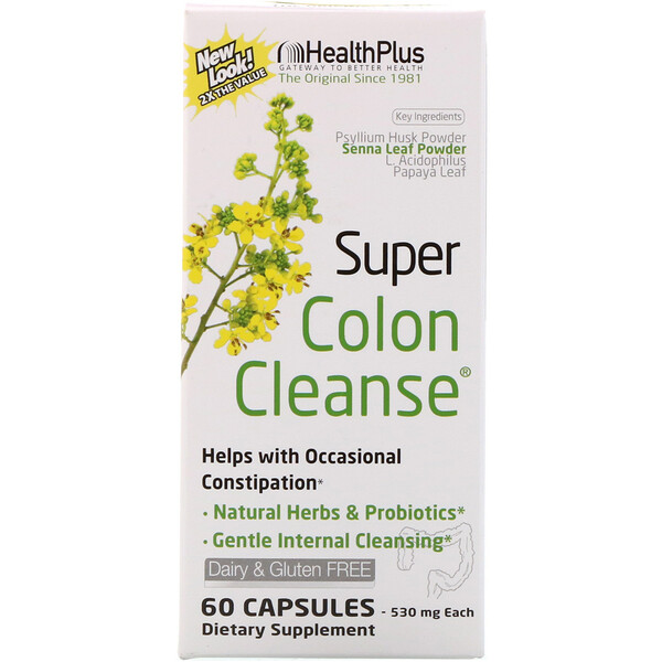 Health Plus, Super Colon Cleanse, 530 мг, 60 капсул