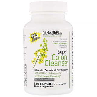 Health Plus, Super Colon Cleanse, 500 mg, 120Cápsulas