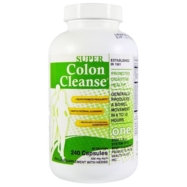 Health Plus Inc., Super Colon Cleanse、500 mg、240カプセル