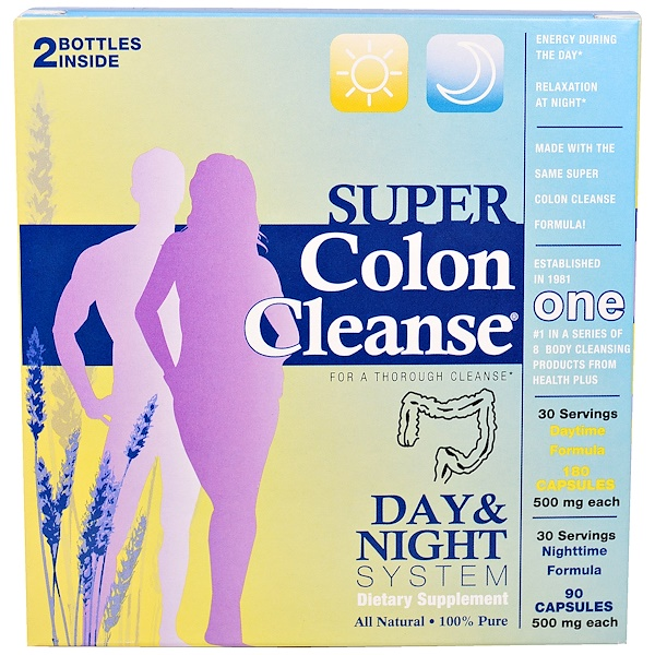 Health Plus, Super Colon Cleanse, Day & Night System, 2 Bottle Kit (Discontinued Item)