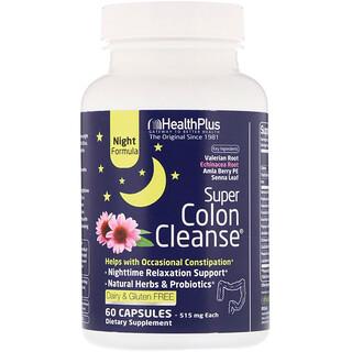 Health Plus, Super Colon Cleanse, Noturno, 60 Cápsulas