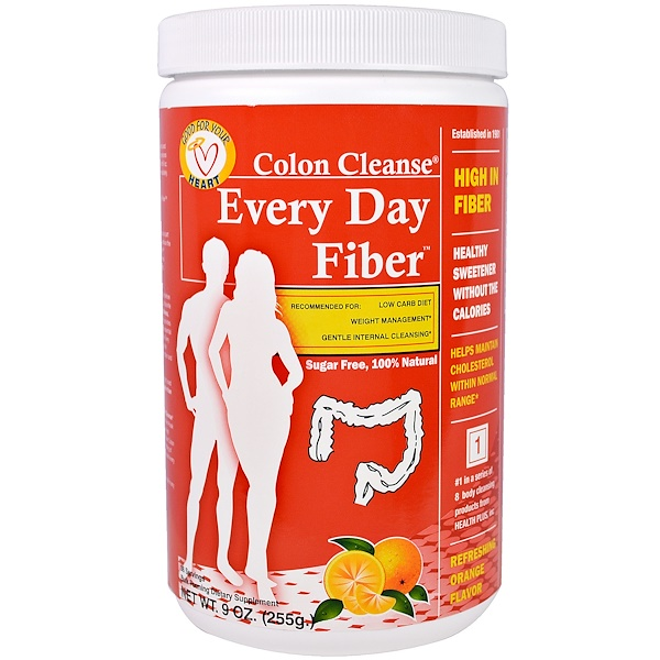 Health Plus, Colon Cleanse, Every Day Fiber, Refreshing Orange Flavor, 9 oz (255 g) (Discontinued Item)