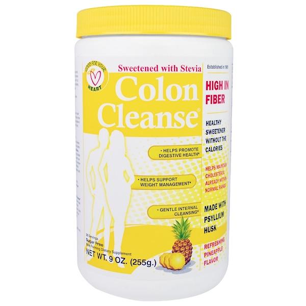 Health Plus, Limpieza del colon, Endulzado con estevia, Sabor a piña refrescante, 9 oz (255 g)