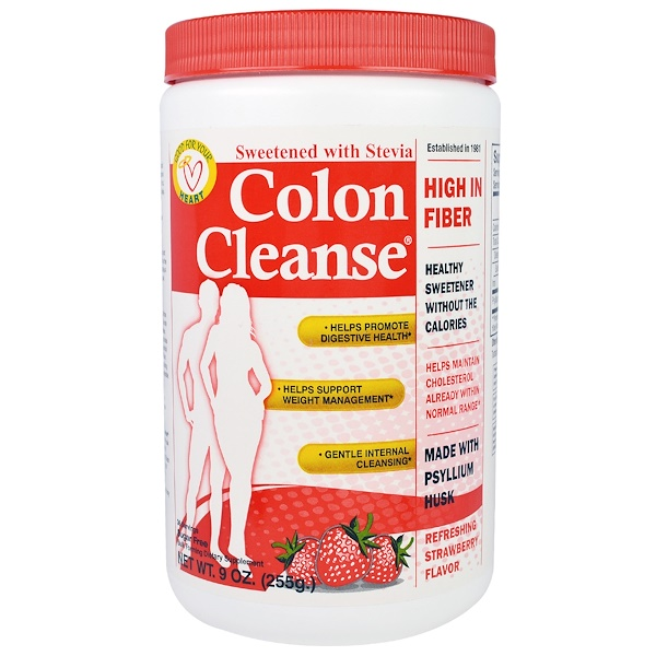 Health Plus, Colon Cleanse, Sweetened with Stevia, Refreshing Strawberry Flavor, 9 oz (255 g) (Discontinued Item)