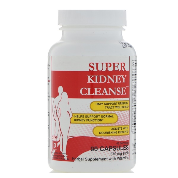 Health Plus Inc., Super Kidney Cleanse, Total Body Cleansing System, Step 3, 90 Capsules