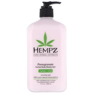 Hempz, Pomegranate Herbal Body Moisturizer, Hydrate + Renew, 17 fl oz (500 ml)