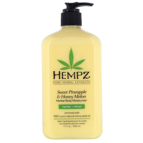 """Hempz, קרם לחות לגוף על בסיס צמחים בניחוח אננס מתוק ומלון דבש ללחות ולחידוש העור, 500 מ""""ל (17 אונקיות נוזל)"""