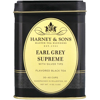 Harney & Sons, Black Tea, Earl Grey Supreme with Silver Tips, 4 oz
