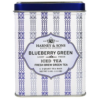 Harney & Sons, Blueberry Green Iced Tea, 6 - 2 Quart Tea Bags, 3 oz (0.11 g)
