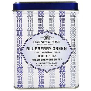 Harney & Sons, Ледяной Зеленый Чай из Голубики, 6 Пакетиков по 3 унции (0,11 г) инструкция, применение, состав, противопоказания