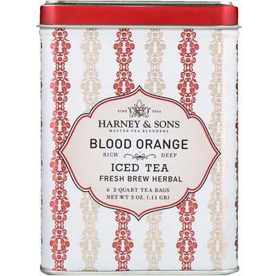 Кроваво-красный Апельсин, Ледяной Чай, 6 Пакетиков по 3 унции (0,11 г)