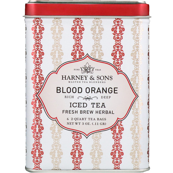 Harney & Sons, Blood Orange Iced Tea, 6 - 2 Quart Tea Bags, 3 oz (0.11 g) (Discontinued Item)