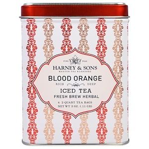 Harney & Sons, Кроваво-красный Апельсин, Ледяной Чай, 6 Пакетиков по 3 унции (0,11 г) инструкция, применение, состав, противопоказания
