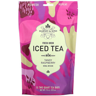 Harney & Sons, Fresh Brew Iced Tea, Tangy Raspberry Herbal Infusion, 15 Tea Bags, 7.5 oz (212 g)
