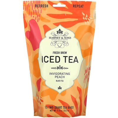 Harney & Sons Fresh Brew Iced Tea, Black Tea, Invigorating Peach, 15 Tea Bags, 7.5 oz (212 g)